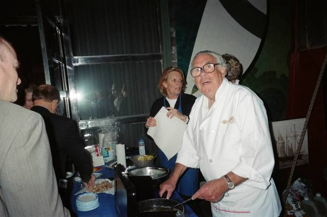 Lou making his delicious fried calamari at the Opening Reception of the San Francisco Ocean Film Festival, January 28, 2005