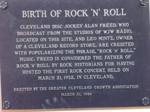 Cleveland Rocks!  This sign in honor of R&R pioneer and entrepreneur Alan Freed, is just a door or two down from Flashstarts's building.
