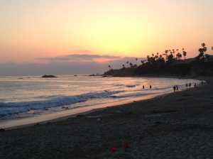 The sun sets over the Pacific, view from downtown's Main Beach