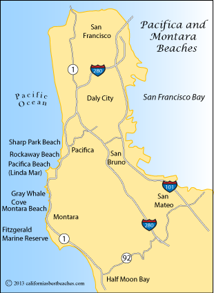 Drawing of San Francisco peninsula.  (Montara is in the Southwest quadrant)