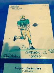 Oregon Ducks drawing by Jimi Hendrix, 1958