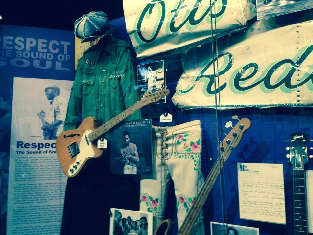 Otis Redding exhibit and plane wing portion