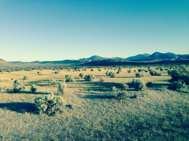 View south near sunset 8/18/14 from Mono Lake's south shore access road