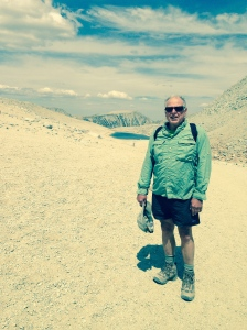 Author on the more southerly Mono Pass. In the background is Summit Lake.