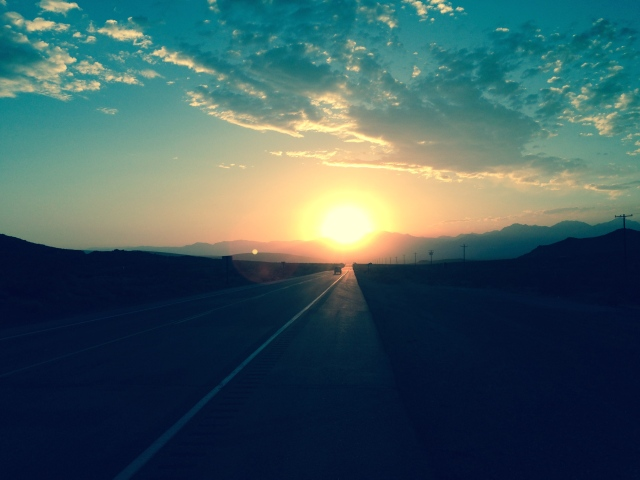 Sunset 8/19/14 from US 395 with southern portion of Sierra Nevada range as backdrop