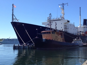 Downtown Castine is home for Maine Maritime Academy's training ships.