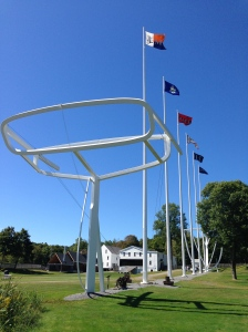 Sculpture on the Maine Maritime Museum campus is reminiscent the schooner, Wyoming.