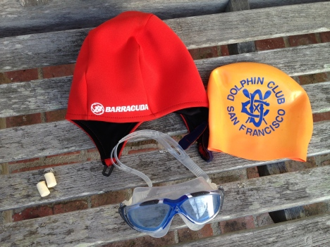 Neoprene Barracuda cap, silicon cap, goggles, & ear plugs.
