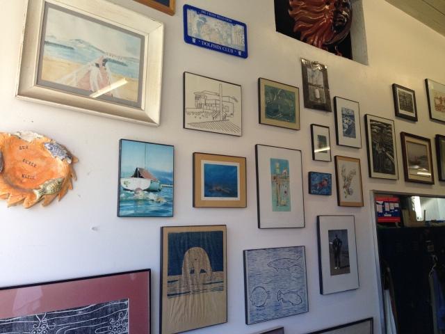 Wall near Joe Illick's locker has become a gallery of Joe's art creations.