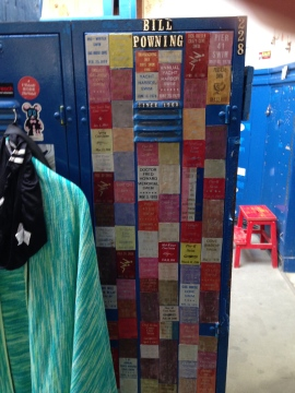 Bill Powning's locker, attesting to his robust participation in the swim program, is now assigned to his son.