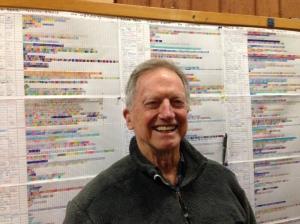 Joe Illick, near one of his haunts, the PB mileage charts.