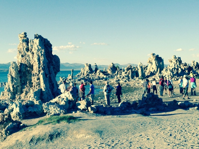 Visitors admiring some of the Mono Lake tufa in August, 2014
