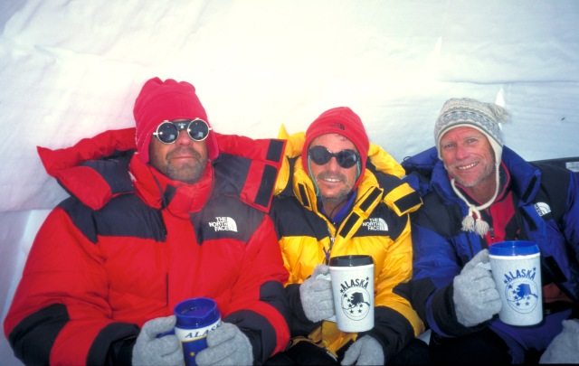 1995 - Dinner at 17,200 feet on Denali. Les, Hank, Bob.