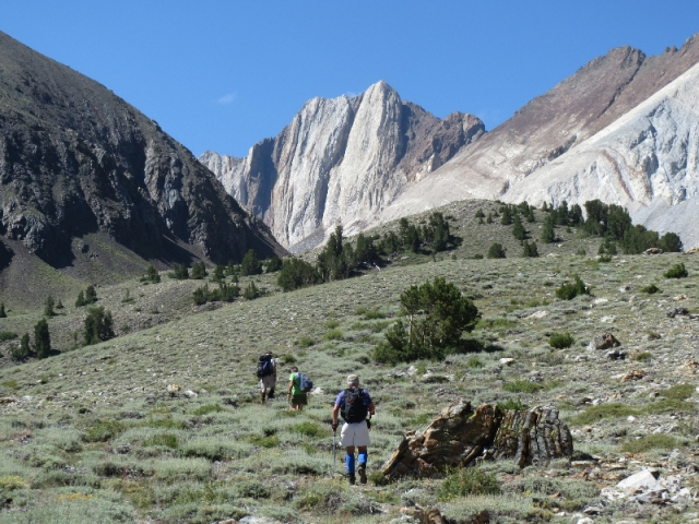 Having left the creek bed, cross country up. Mt. Morrison is to the right but not in view, except a lower flank.