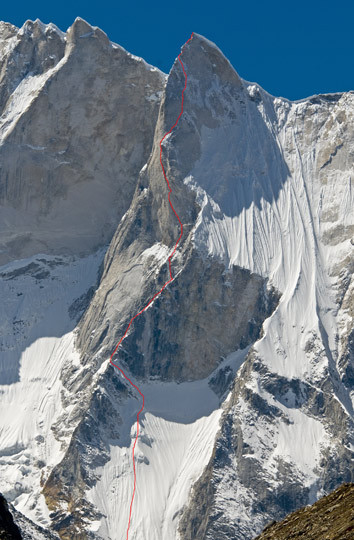 Route taken to Meru's summit (!). Courtesy of Alpinist.com.